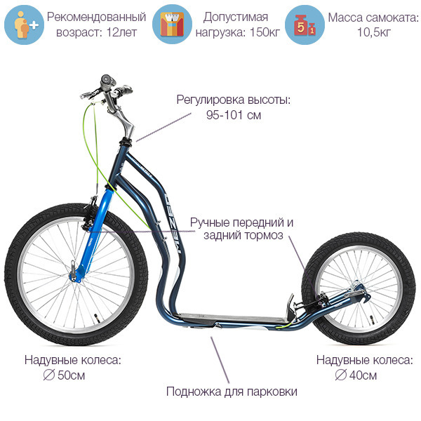 Характеристики самоката Yedoo Mezeq V-Brake New